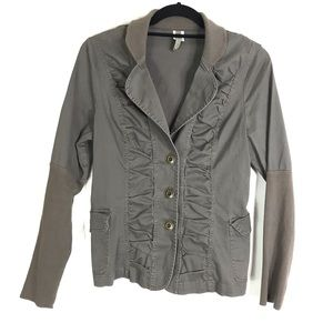 XCVI Jacket Ruched Button Front Stretch Grey/Brown